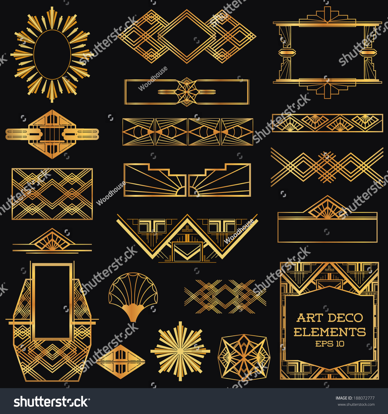 Art Deco Vintage Frames Design Elements Stock Vector