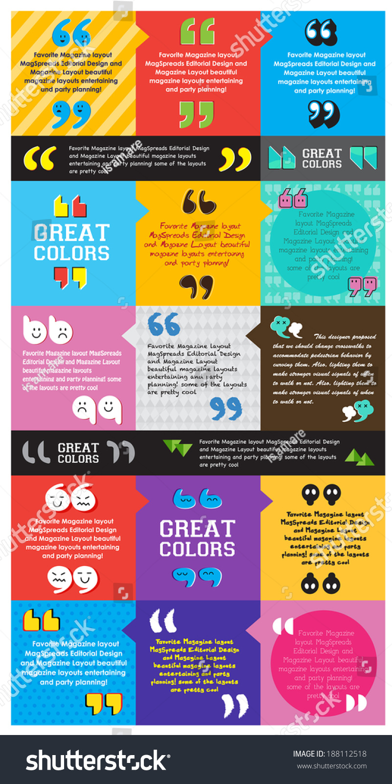 Colorful Template Quotation Marks Design Layout Stock Vector