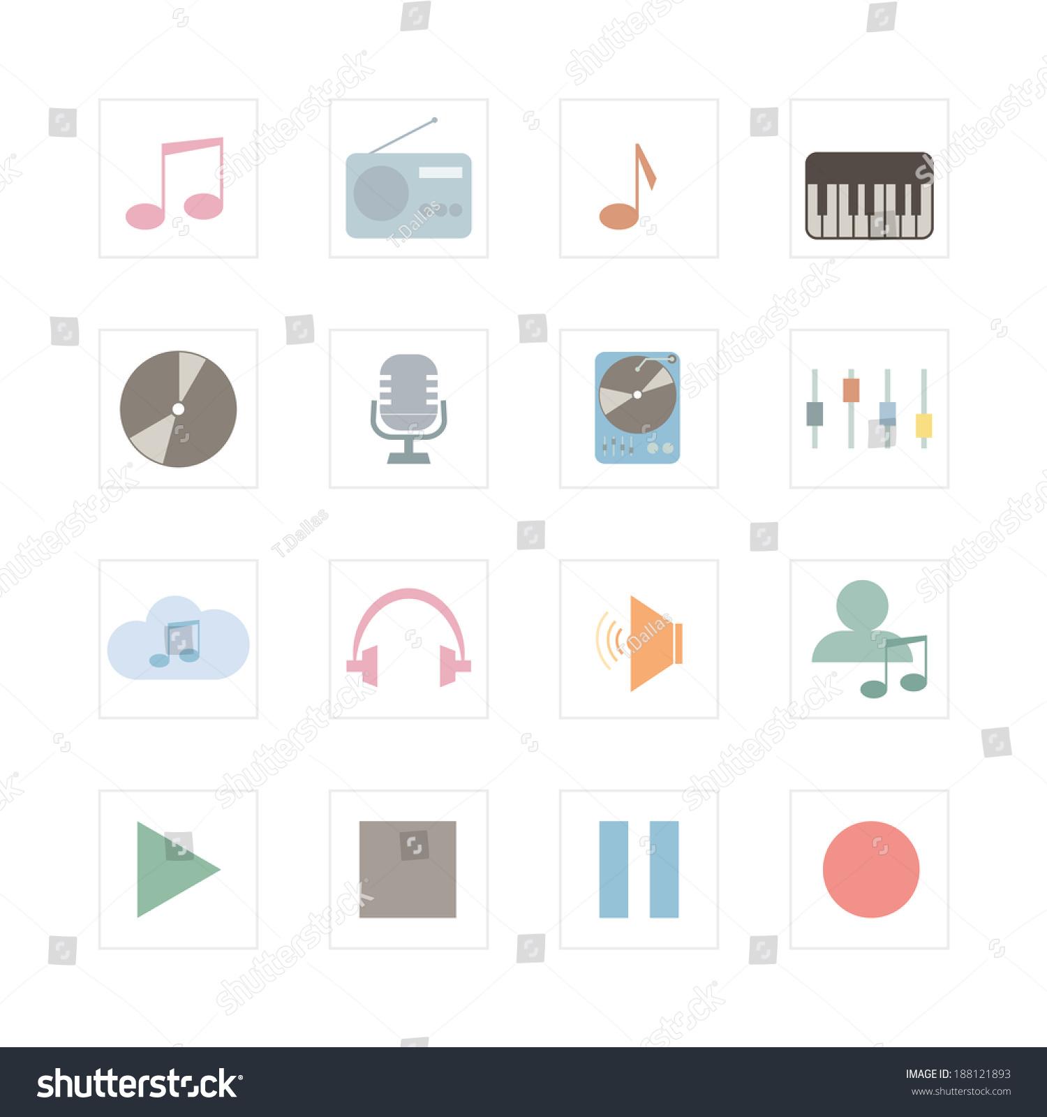 music icon set designed illustration infographics stock vector, Presentation templates