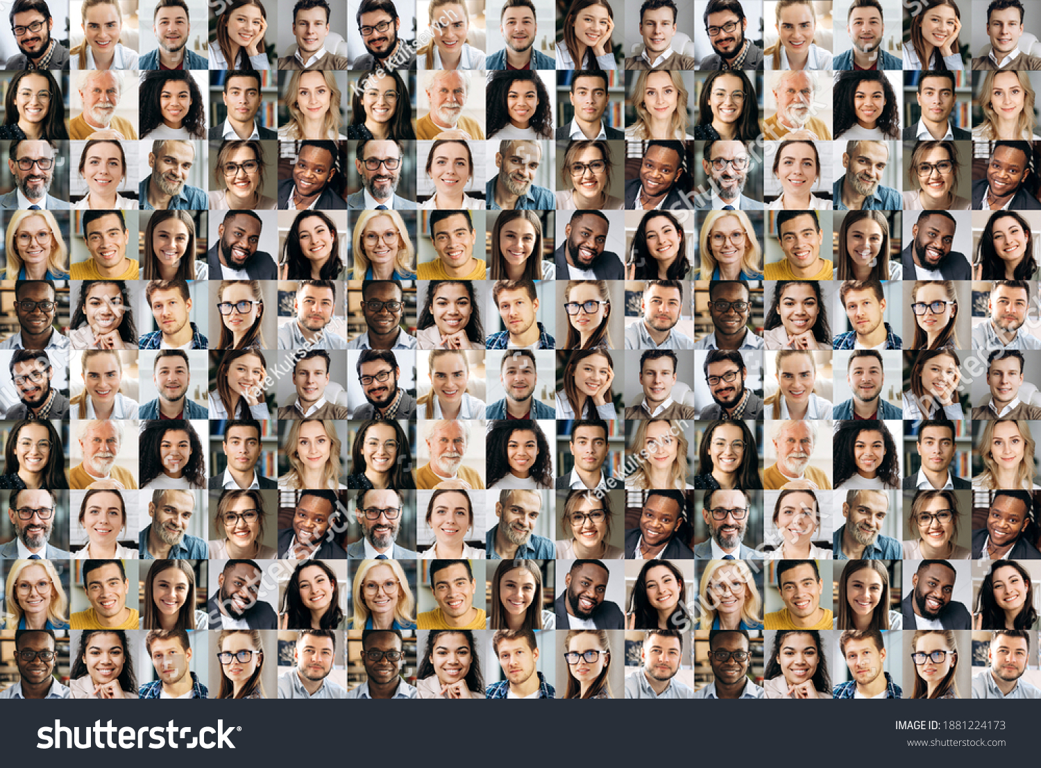 Collage of a lot of happy multiracial people looking at the camera. Many smiling multiethnic faces of successful business people on a screen of computer or laptop #1881224173