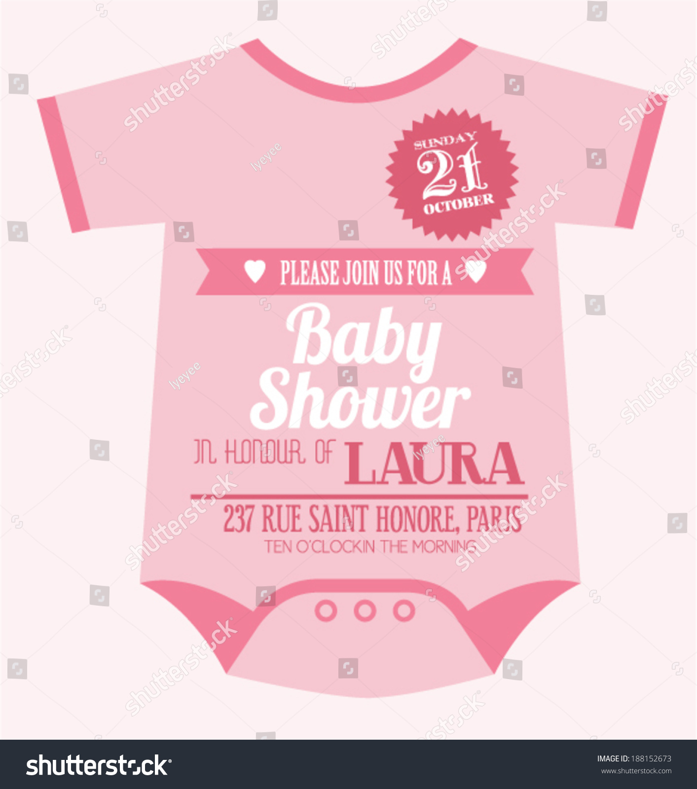 ... clothes baby girl shower invitation card template vector/illustration