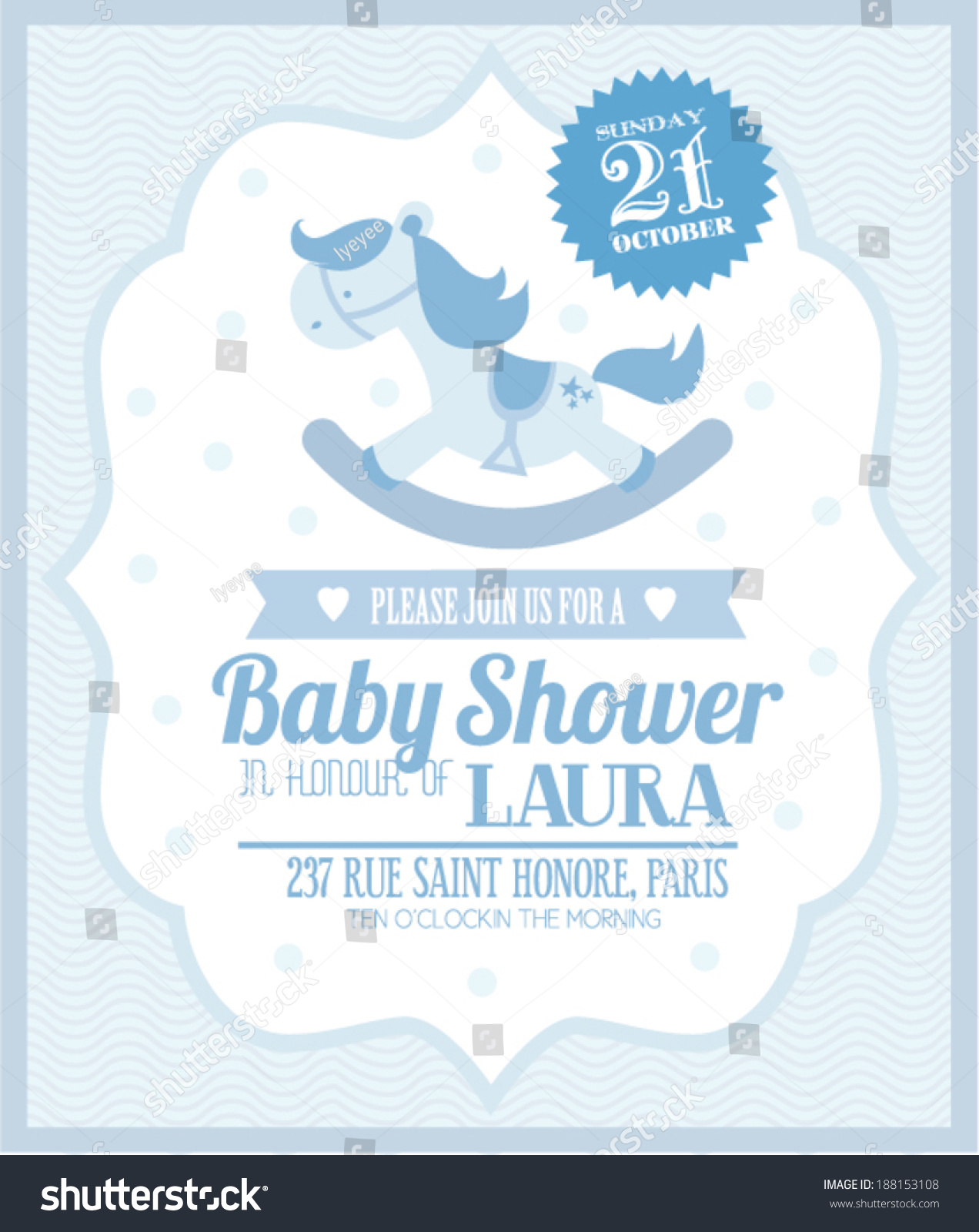 Rocking Horse Baby Boy Shower Template Stock Vector 188153108
