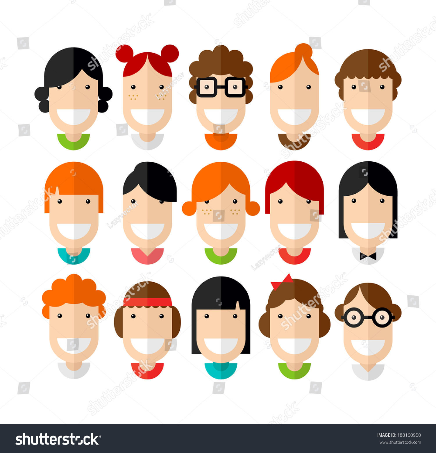Character Design Hair : Happy smiling beautiful young girls character stock vector