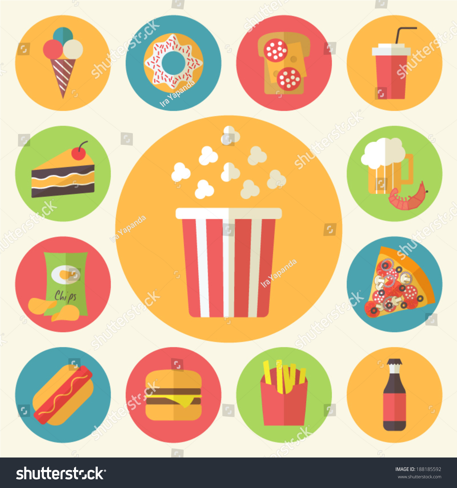 Fast food icons set menu cafe stock vector