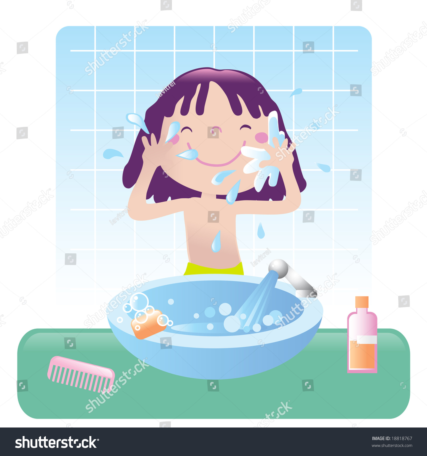 Cute girl washing her face bathroom stock vector 18818767 for Clean the bathroom in spanish