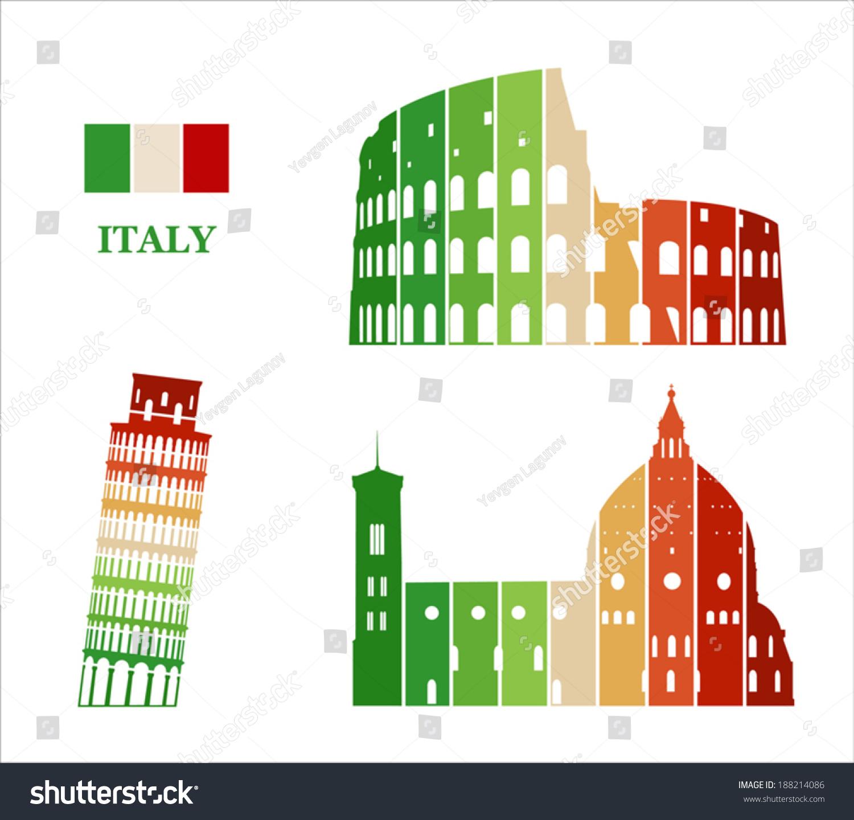Vector Graphic Symbols Italy Stock Vector 188214086 Shutterstock