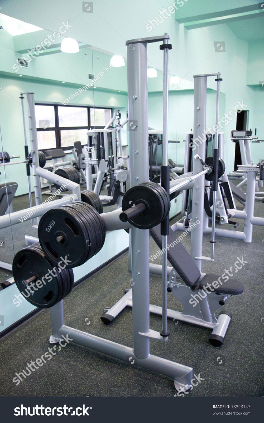 Room gym equipment sport club stock photo