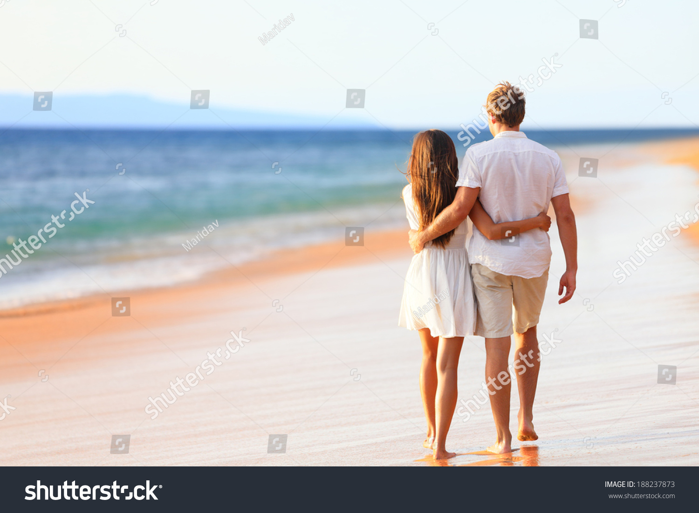 Beach Couple Walking On Romantic Travel Honeymoon Vacation Summer Holidays Romance Back Rear View Of