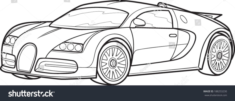 black outline modern car on white stock vector 188253230