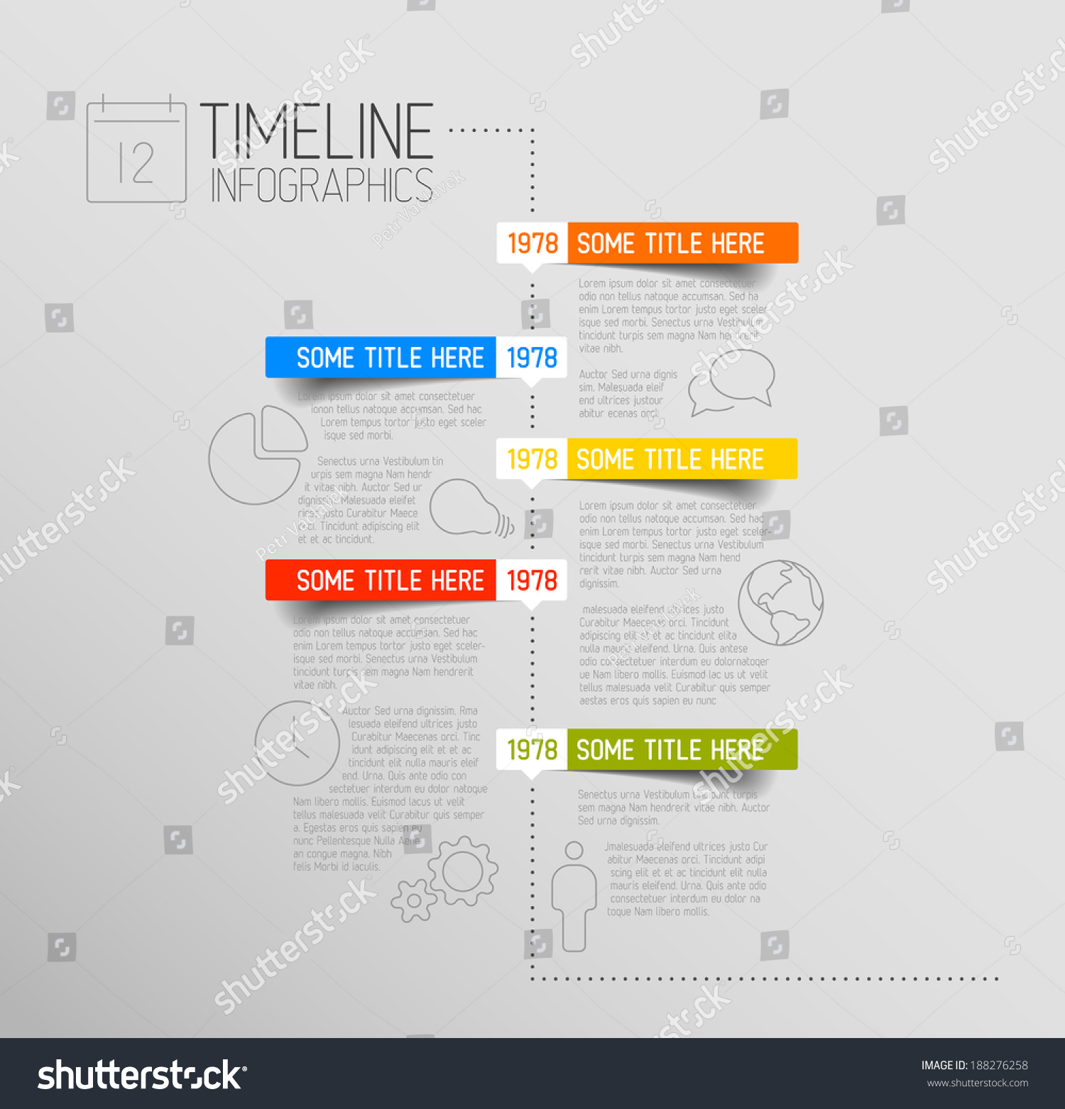 vector infographic timeline report template icons stock vector 188276258 shutterstock. Black Bedroom Furniture Sets. Home Design Ideas