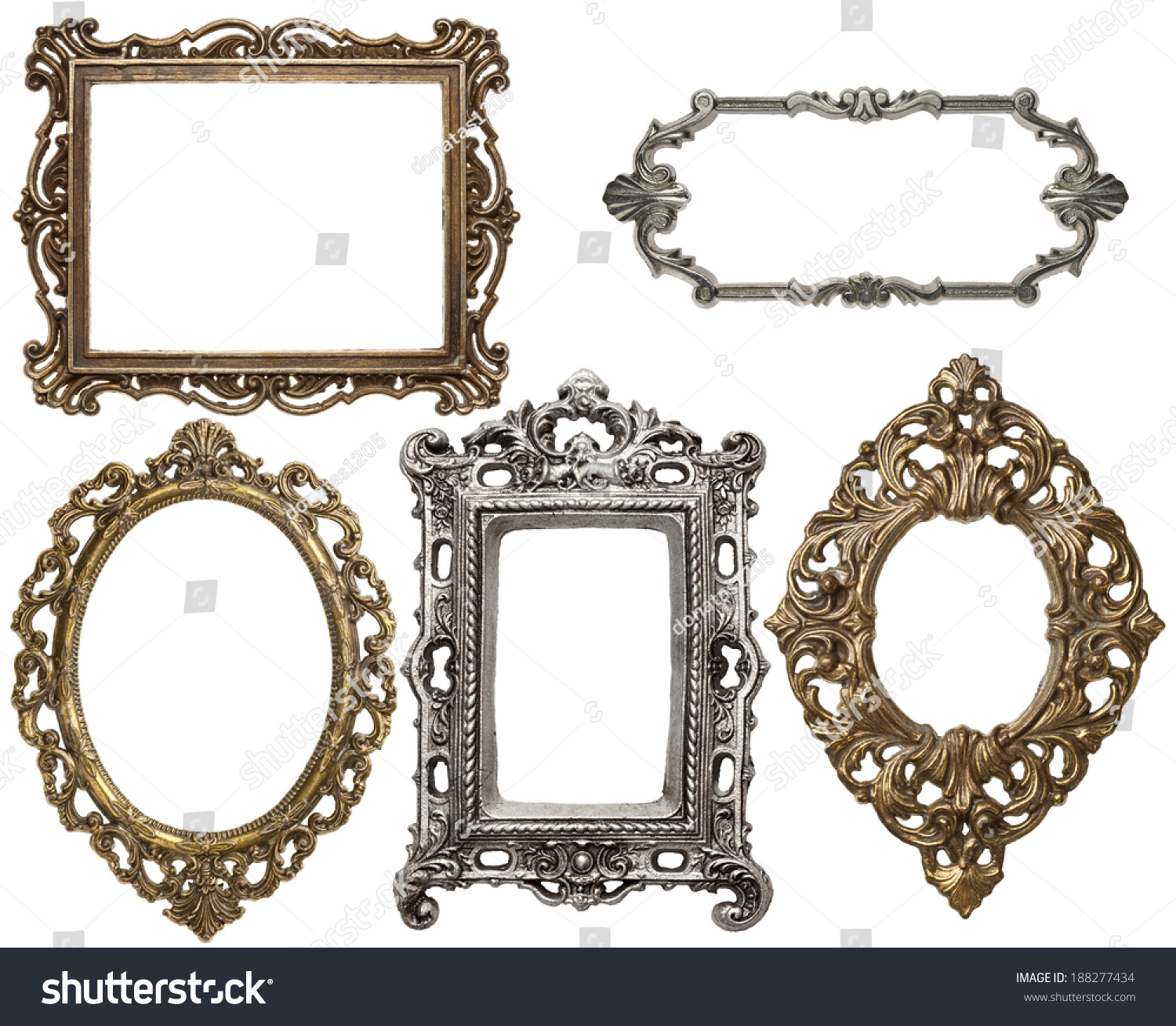 Vintage Metal Frames Isolated Stock Photo (Royalty Free) 188277434 ...