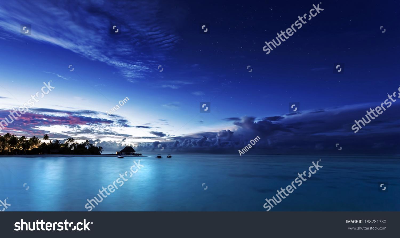 Starry Night On Maldives Dark Blue Sky Over Beach Resort Beautiful Nighttime Seascape