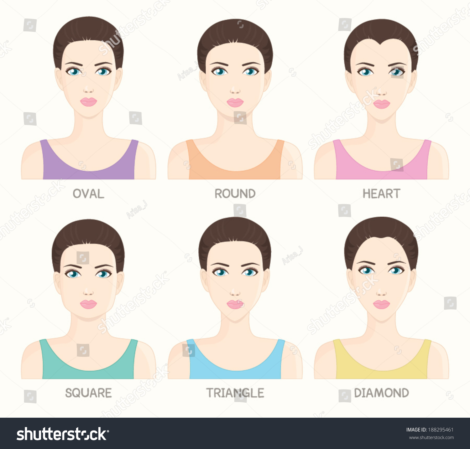 Set Woman Face Shapes Oval Round Stock Vector 188295461