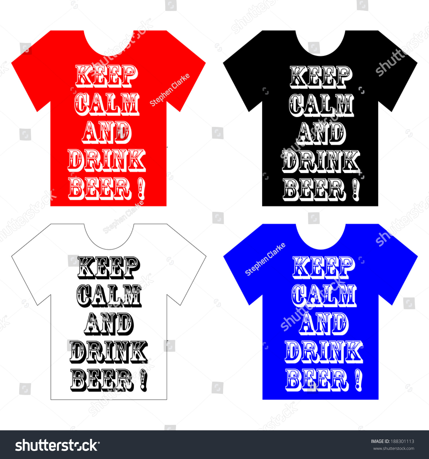 T Shirts Multicoloured Keep Calm Drink Beer Stock Vector Royalty