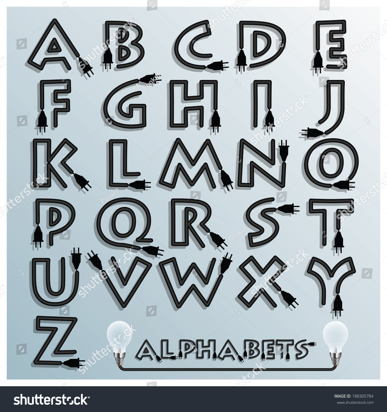 Electric Wire Plug Alphabets Font Style Stock Vector 188305784 ...
