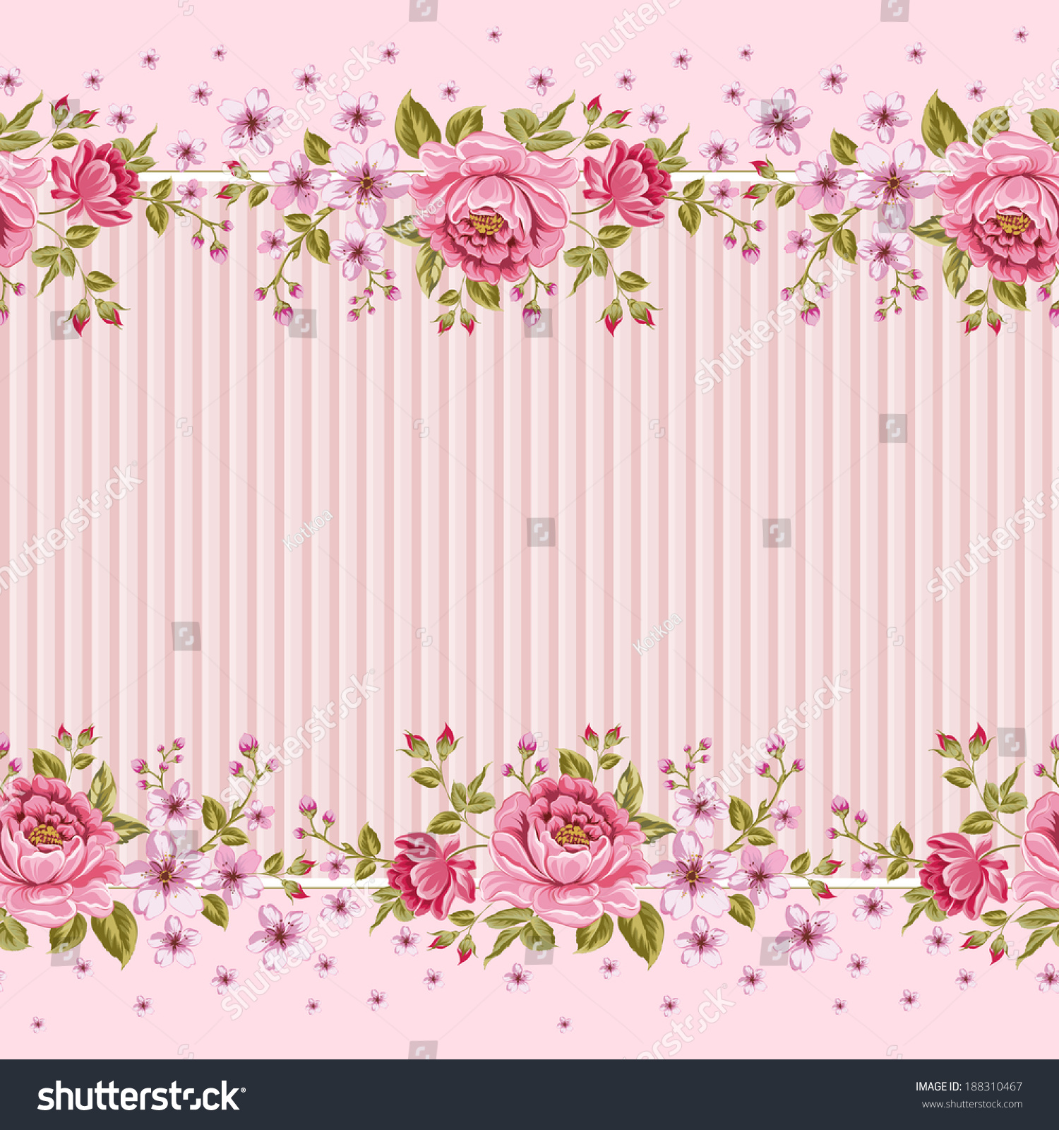 Seamless Wallpaper Pattern Pink Roses Vector 188310467