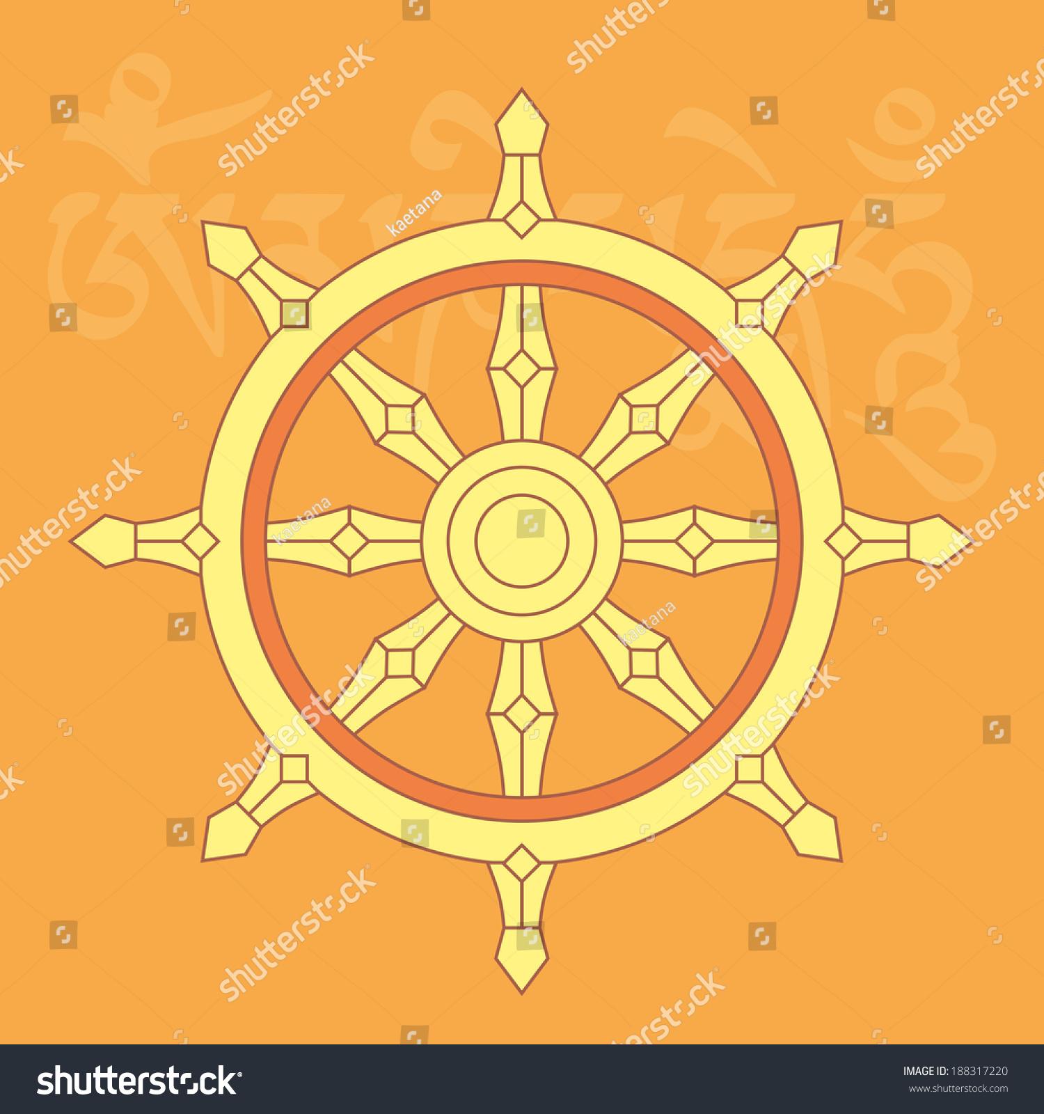 Wheel dharmaone eight auspicious buddhist religious stock vector wheel of dharmaone of eight auspicious buddhist religious symbols with mantra om mani padme buycottarizona