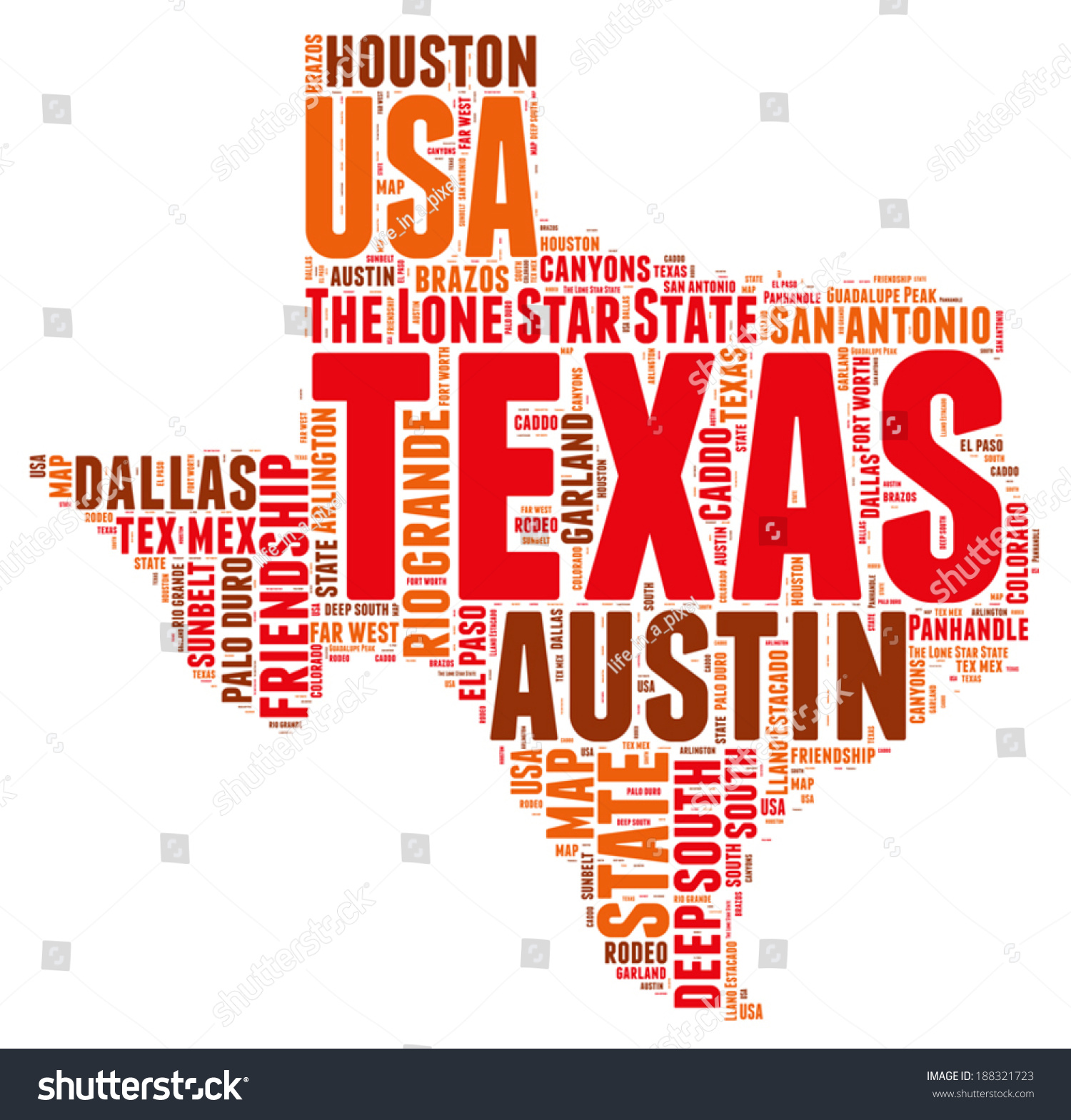Texas Usa State Map Tag Cloud Stock Vector Shutterstock - Texas usa map