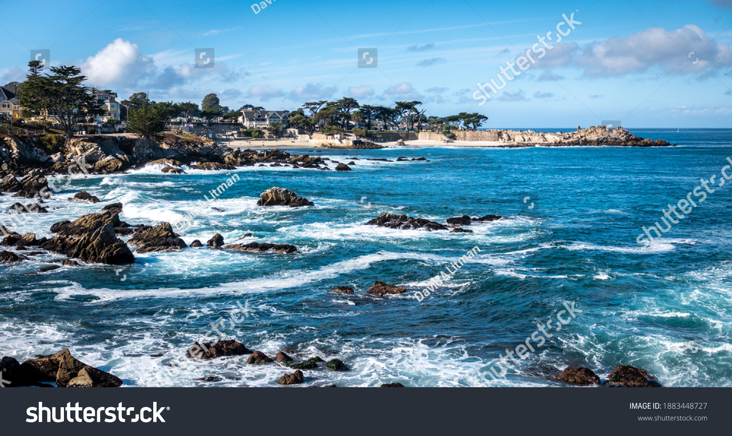 Scenic view of the rocky coast along the Monterey Bay of central California, in Pacific Grove.