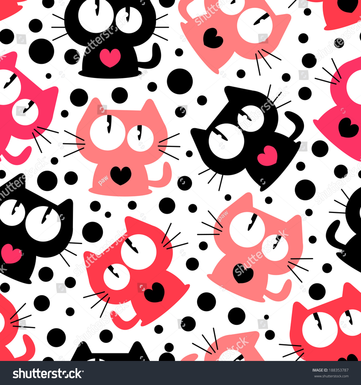 Seamless Pattern Cute Funny Cartoon Cats Stock Vector ...