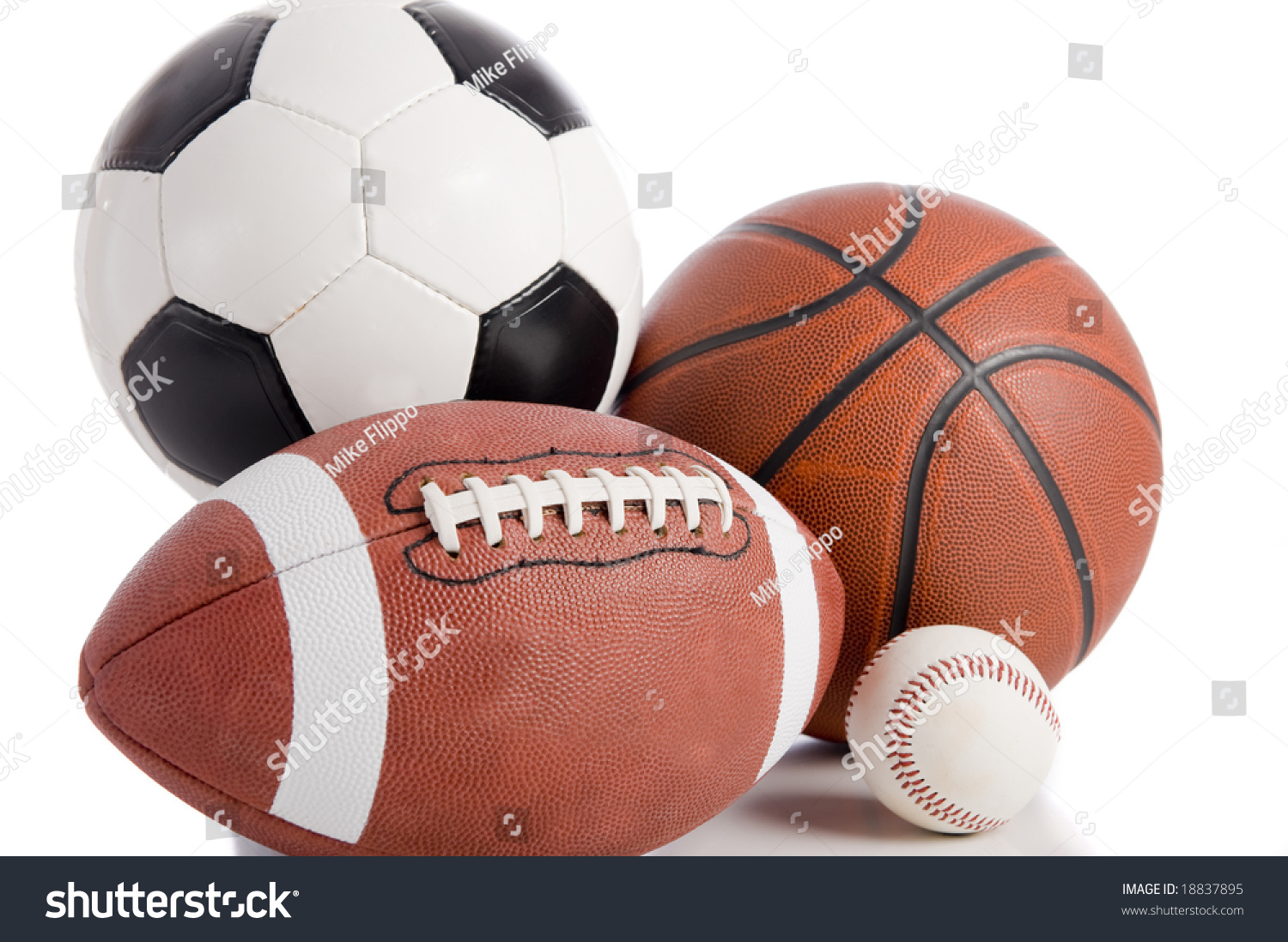 Color Sport Background Football Basketball Hockey Stock: Group Sports Balls On White Background Stock Photo