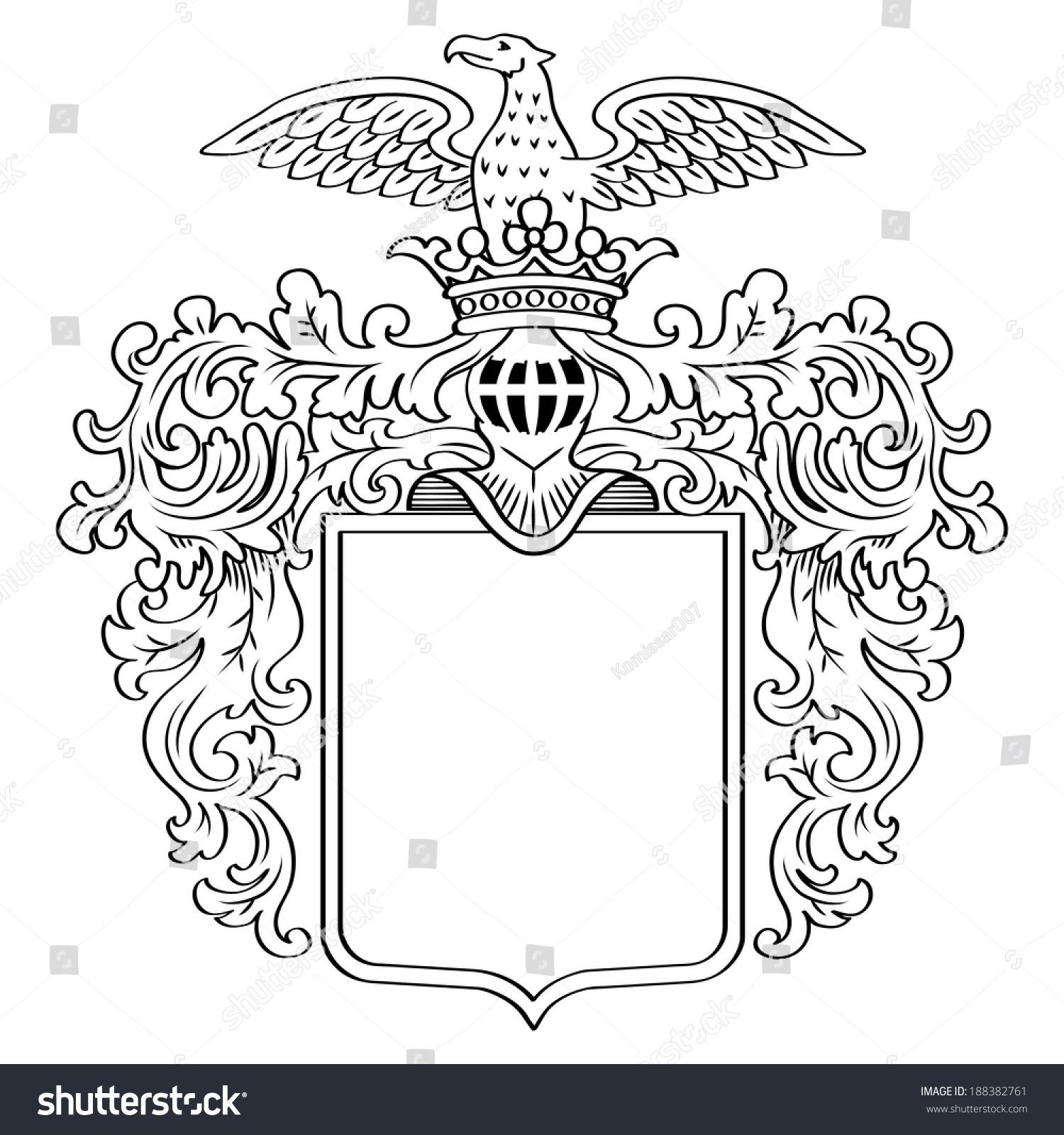 Heraldic Shield Knights Helmet Raster Version Stock Illustration