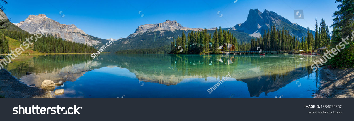 Emerald Lake panorama view in summer sunny day. Michael Peak, Wapta Mountain, and Mount Burgess in the background. Yoho National Park, Canadian Rockies, British Columbia, Canada. #1884075802