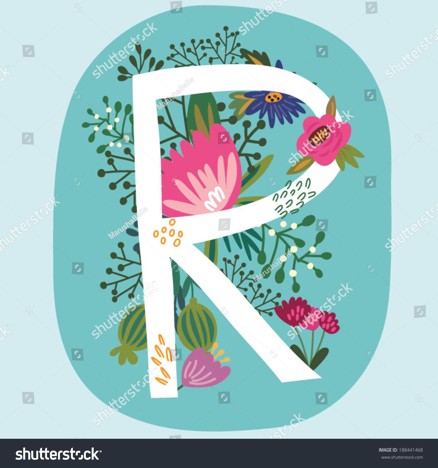 vector hand drawn floral monogram vintage stock vector 188441468