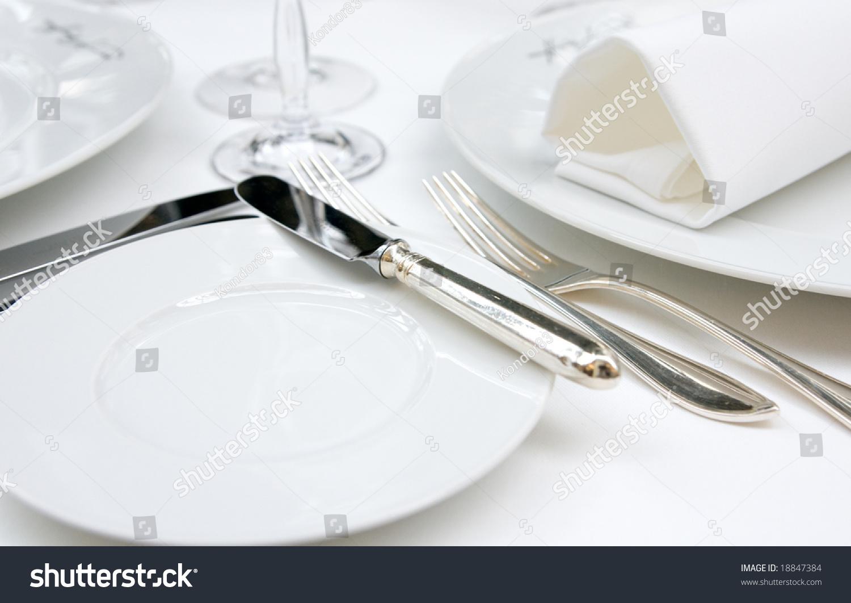 table arrangement in very expensive haute cuisine. Black Bedroom Furniture Sets. Home Design Ideas