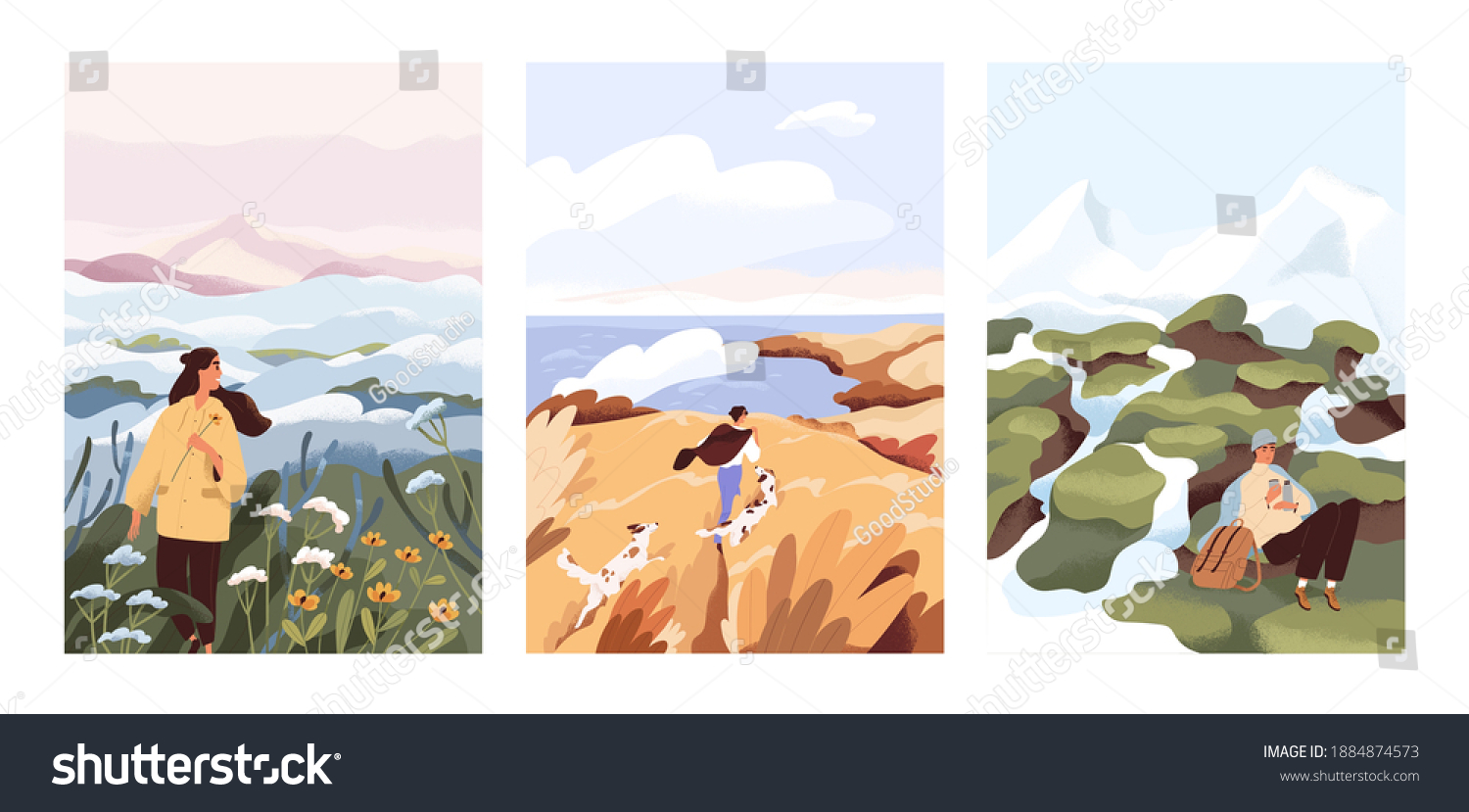 Man and woman relax outdoor at natural landscape vector flat illustration. Scenes with people walking alone, enjoy scenic nature views. Concept of freedom, relax and inspirational lifestyle #1884874573