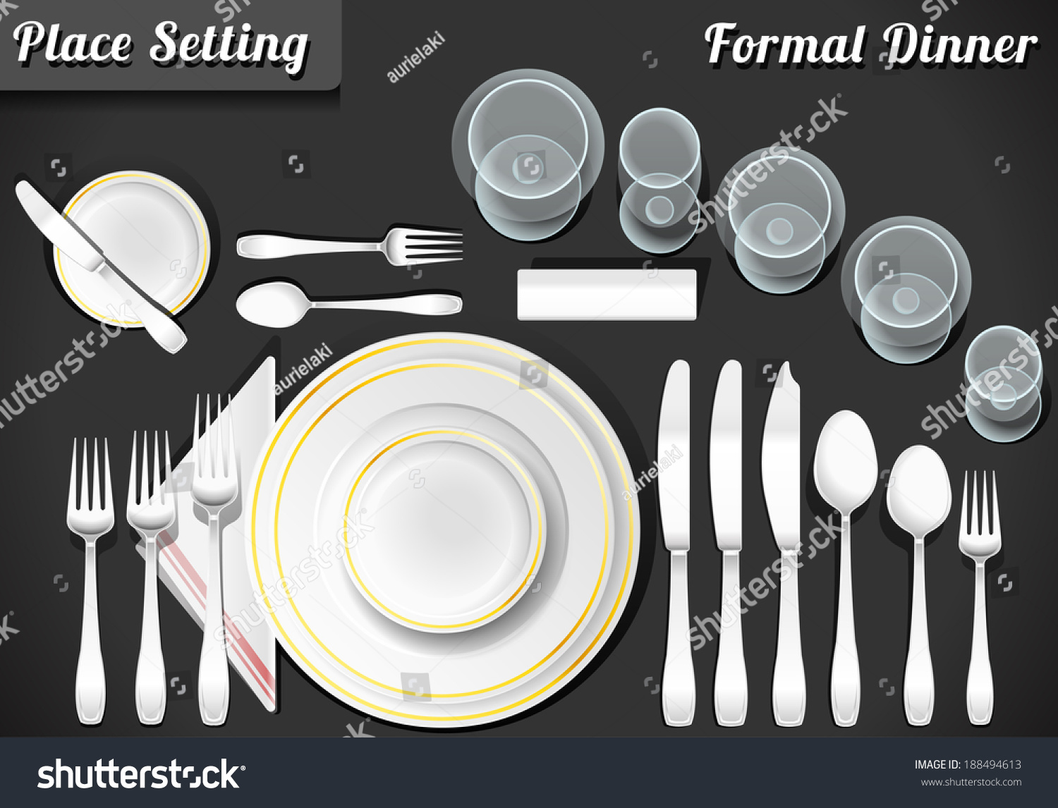 Setting Place Formal Placemat Place Setting Vectores En