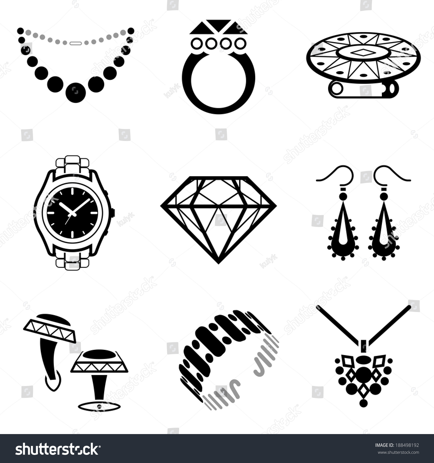 Set Jewelry Icons Collection Blackwhite Icons Stock Illustration