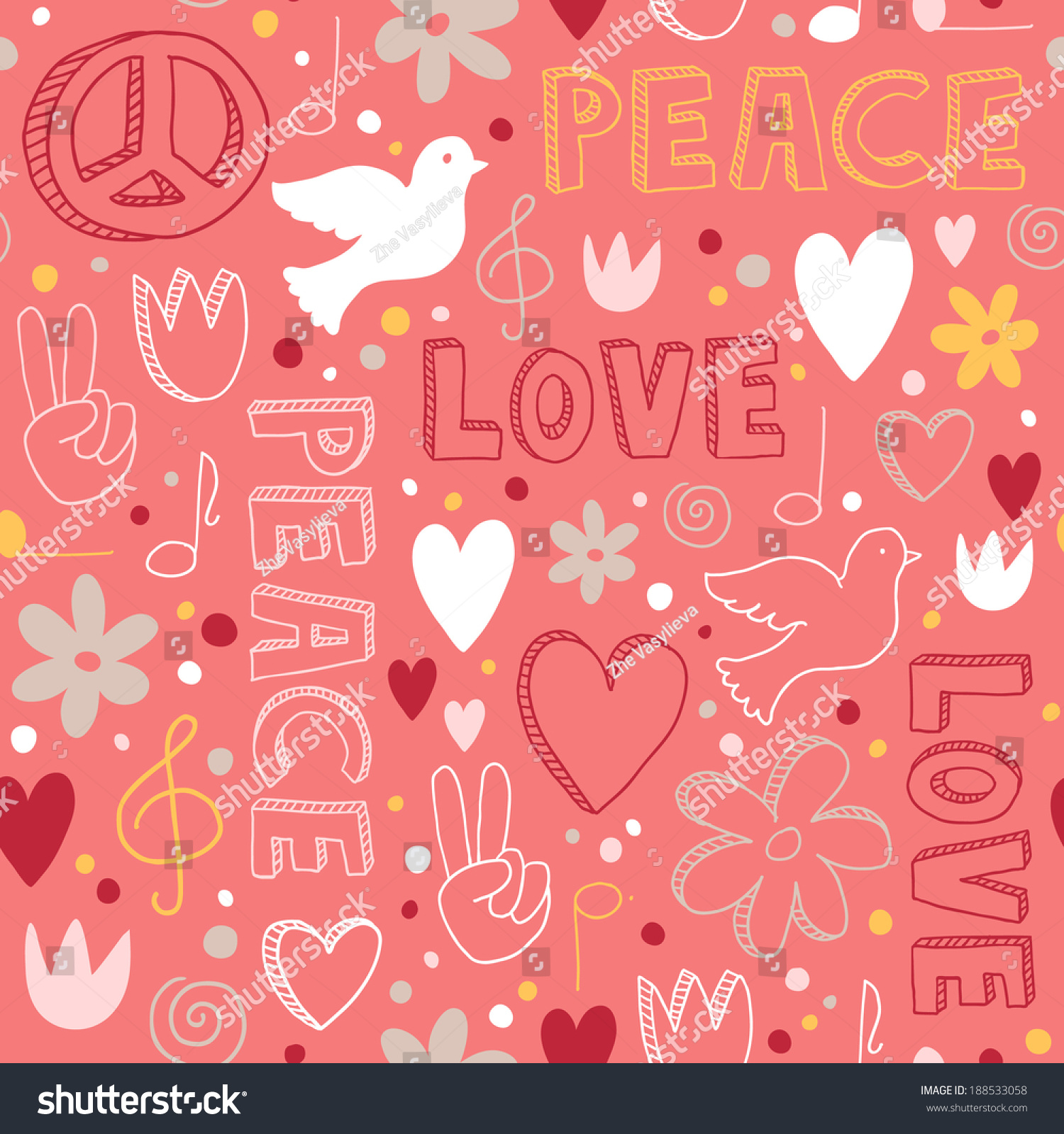 Cute Handdrawn Seamless Pattern Symbols Peace Stock Vector 188533058