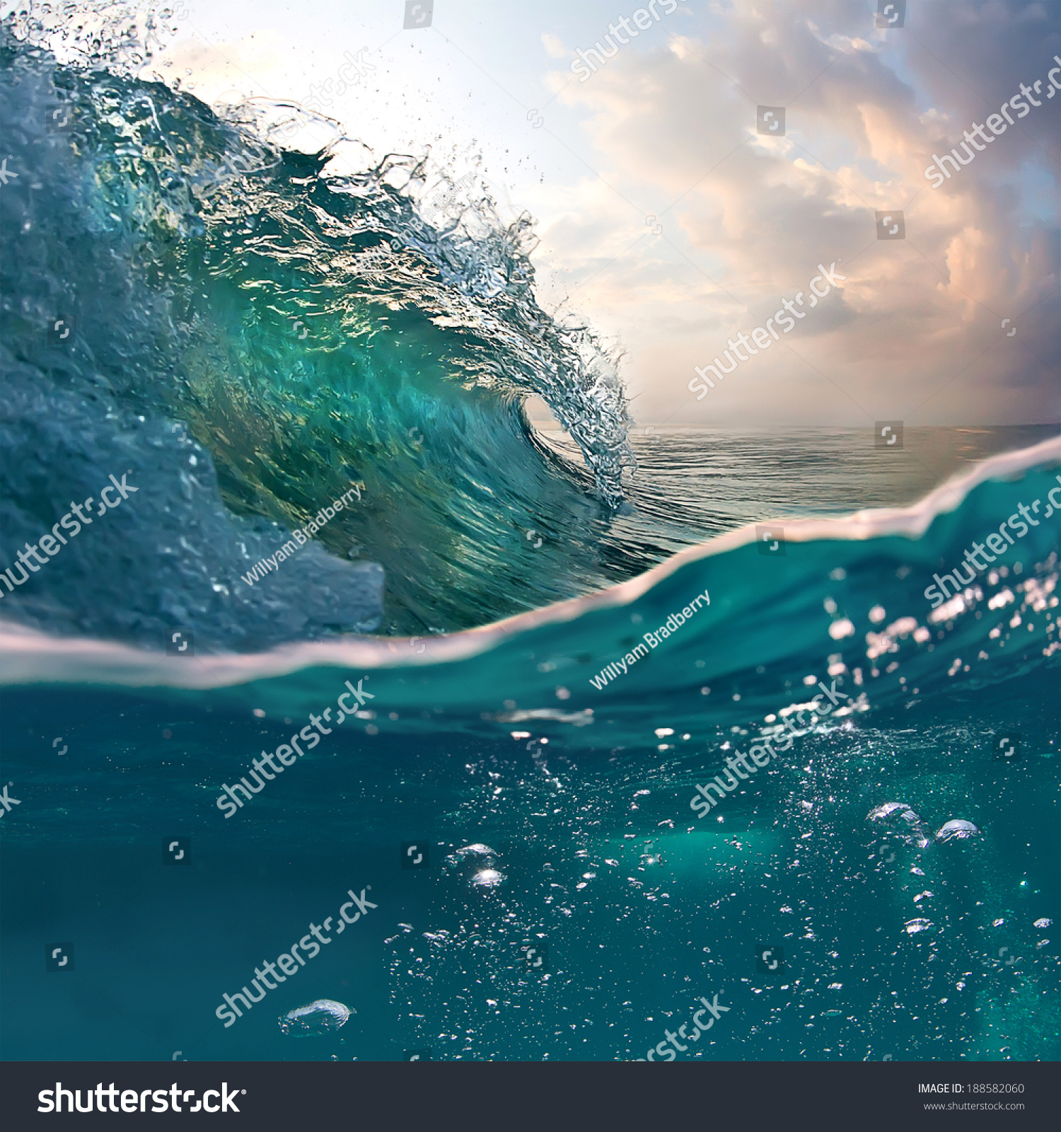 Tropical Sunset Background. Beautiful Colorful Ocean Wave