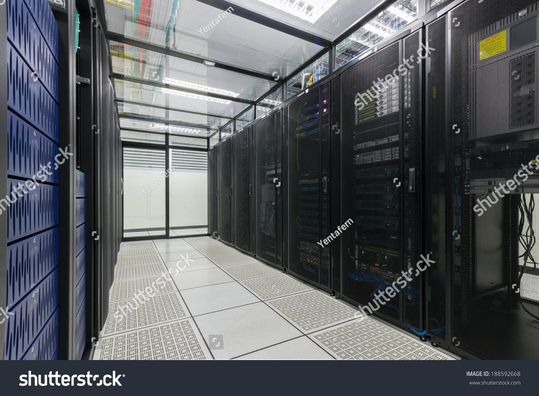 Server Room Security : Modern interior of server room super computer