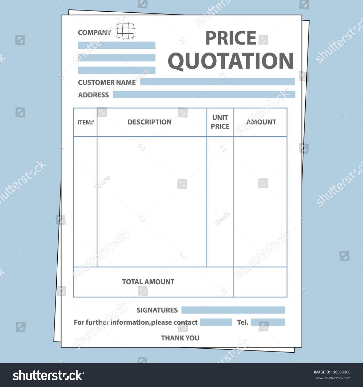Illustration Blank Sale Price Quotation Form