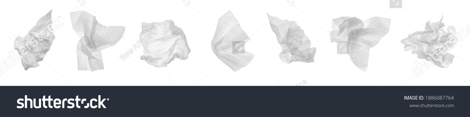 Set with used crumpled paper tissues on white background. Banner design #1886087764