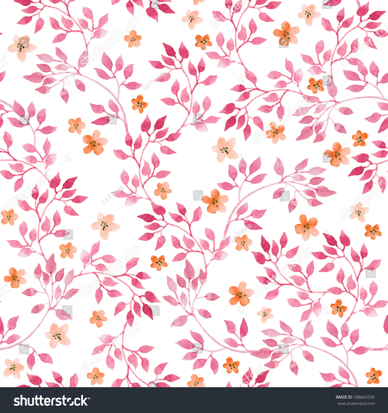 Seamless Vintage Pattern Hand Painted Pink Stock