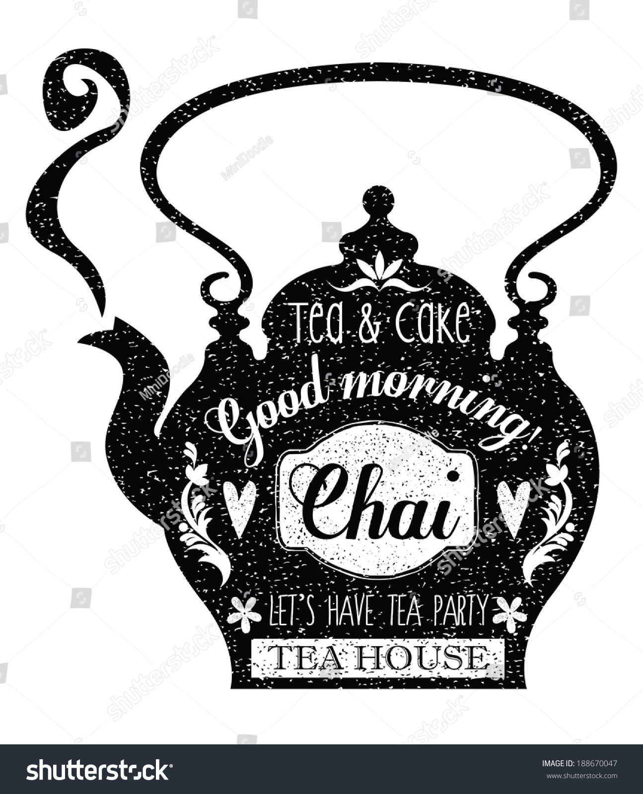 Vintage Cafe Menu Teapot Shape Chalk Stock Vector ...