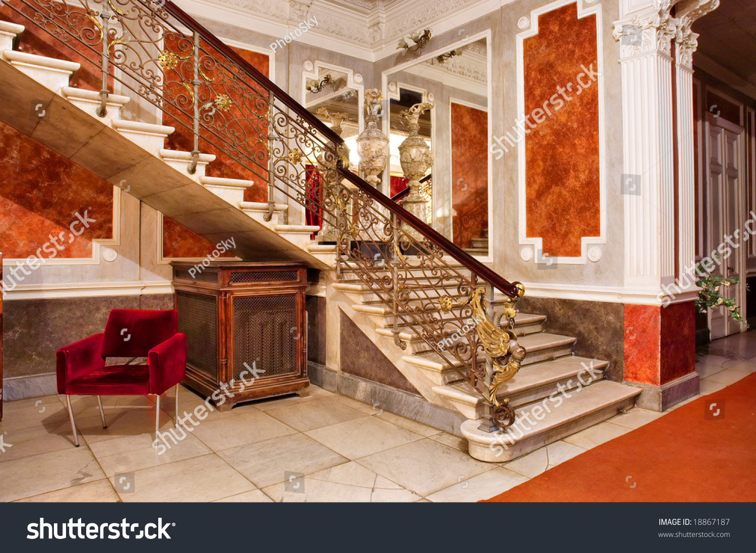Stairway And Mirror Inside Luxury Apartments Shot In