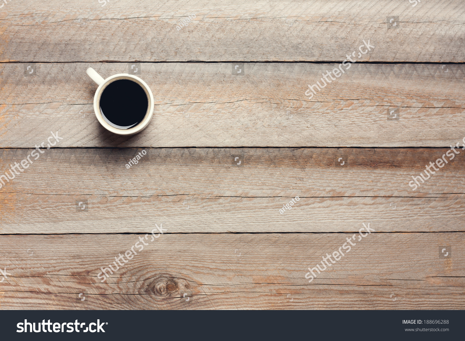 Cup coffee on wooden table top stock photo 188696288 for Html table th always on top