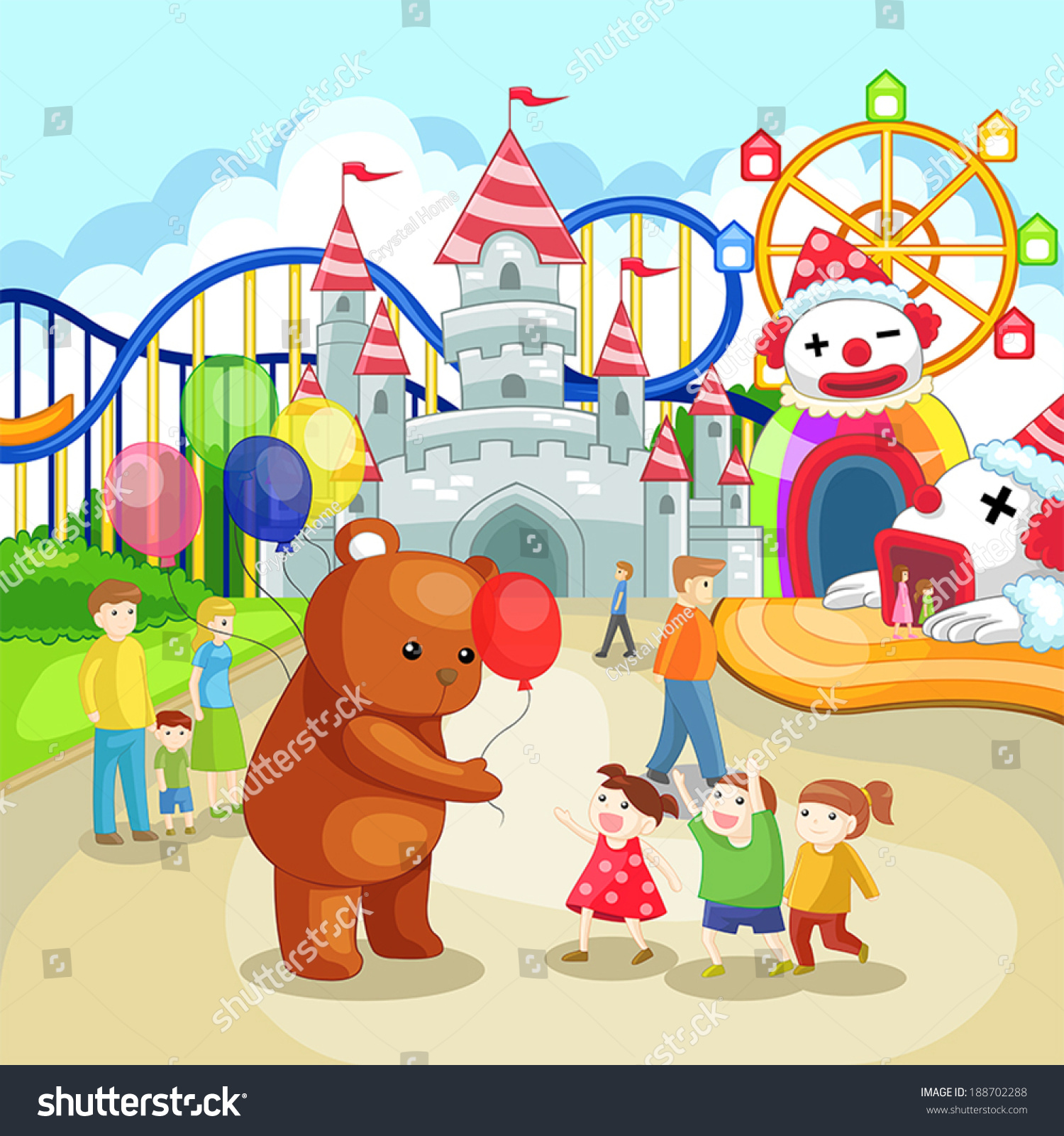Cartoon Amusement Park Theme Park Children Stock Vector ...