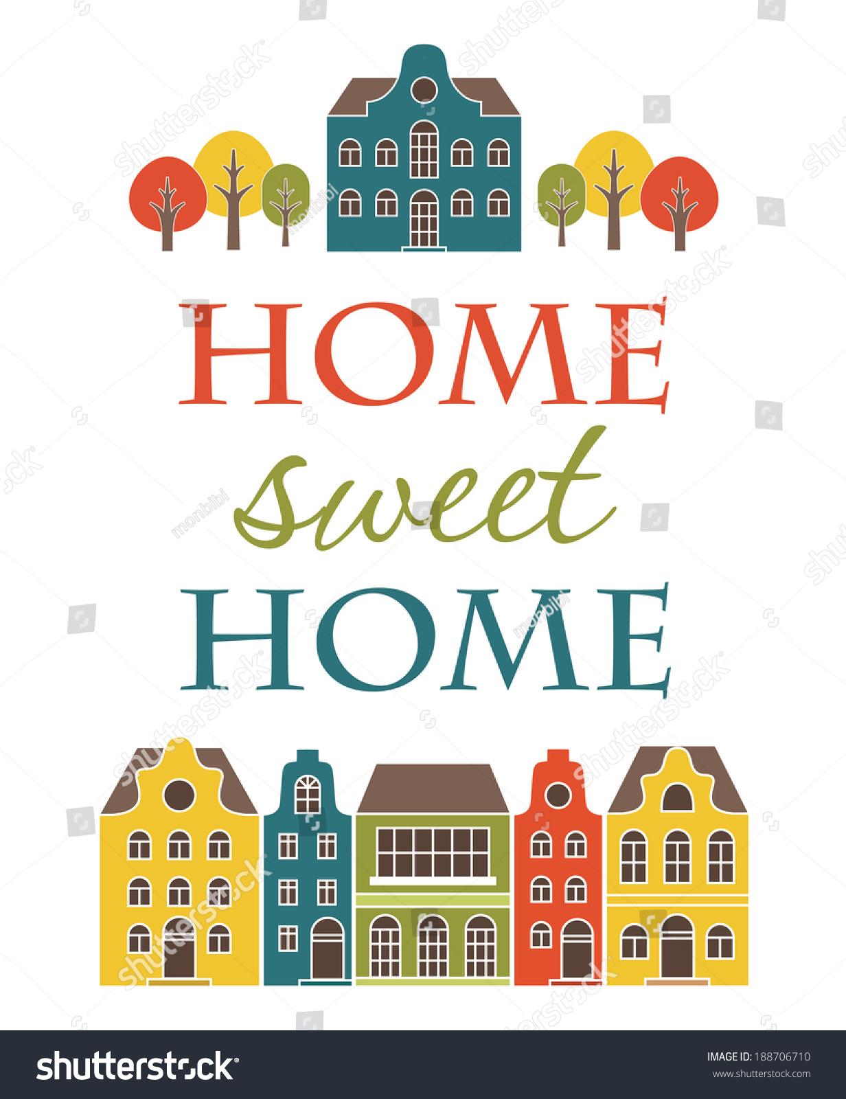 Home Sweet Home Card Design Vector Stock Vector 188706710 - Shutterstock