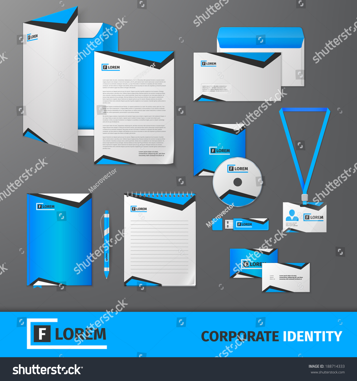 Corporate Stationery: Blue Geometric Technology Business Stationery Template