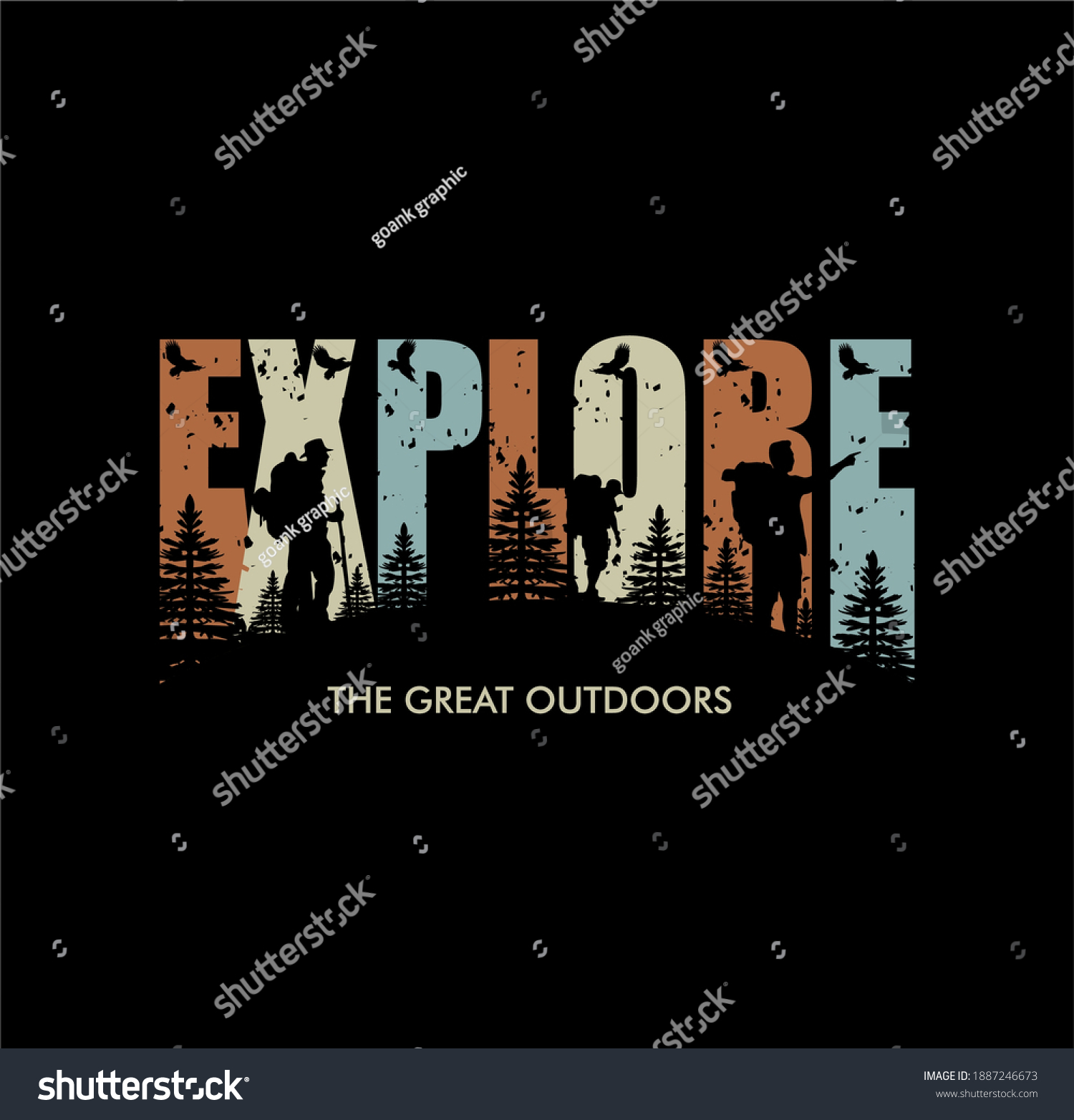 'Explore the great outdoors' For t-shirt prints, posters, stickers and other uses. #1887246673
