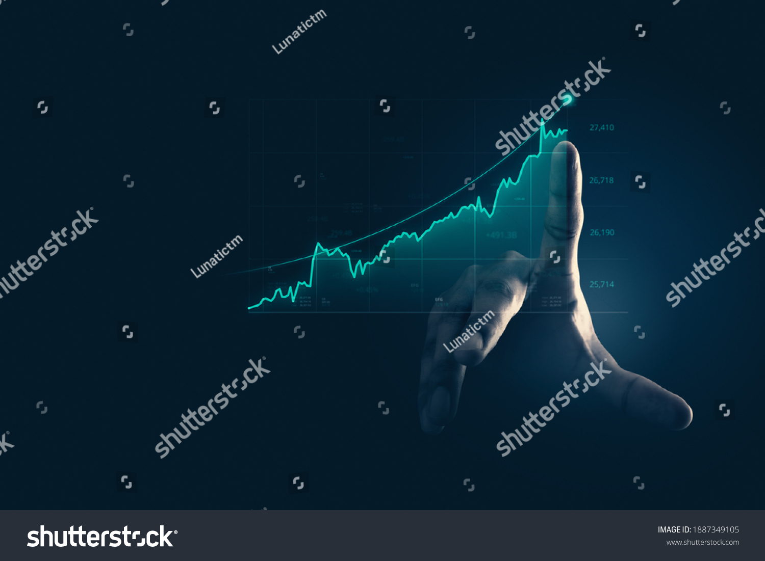 Businessman pointing chart financial goals and economic business planning global. #1887349105