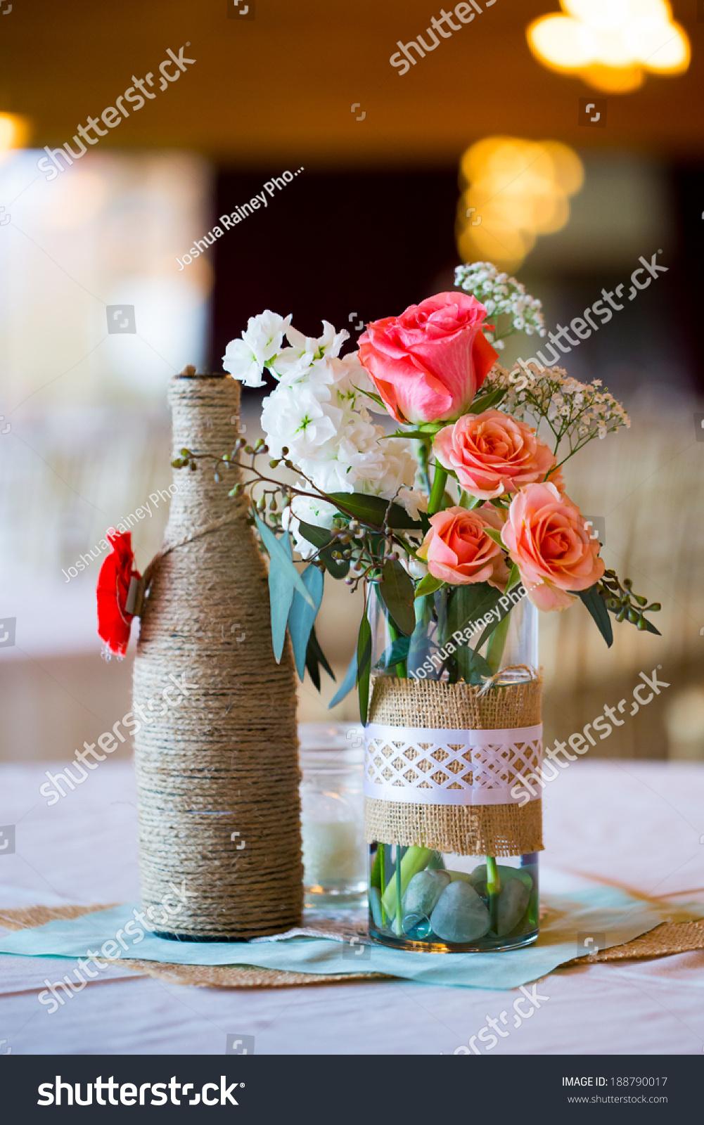 Diy Wedding Decor Table Centerpieces Wine Stock Photo (Edit Now) 188790017