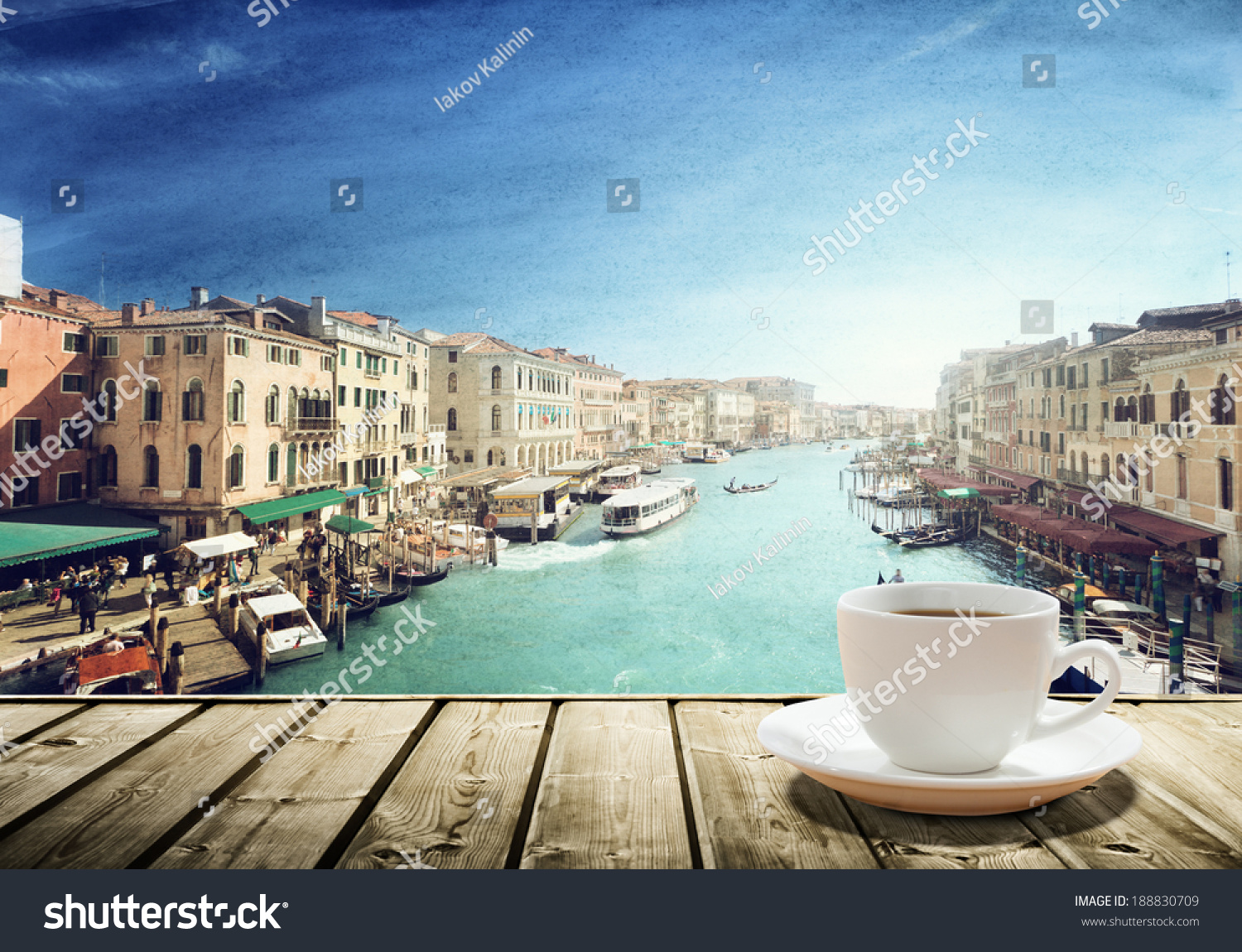 Coffee on table venice sunset time stock photo 188830709 coffee on table and venice in sunset time italy geotapseo Gallery