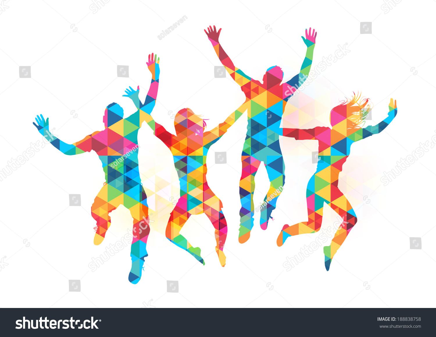 Celebration - Young People Jumping In Celebration With Abstract Pattern Vector Illustration