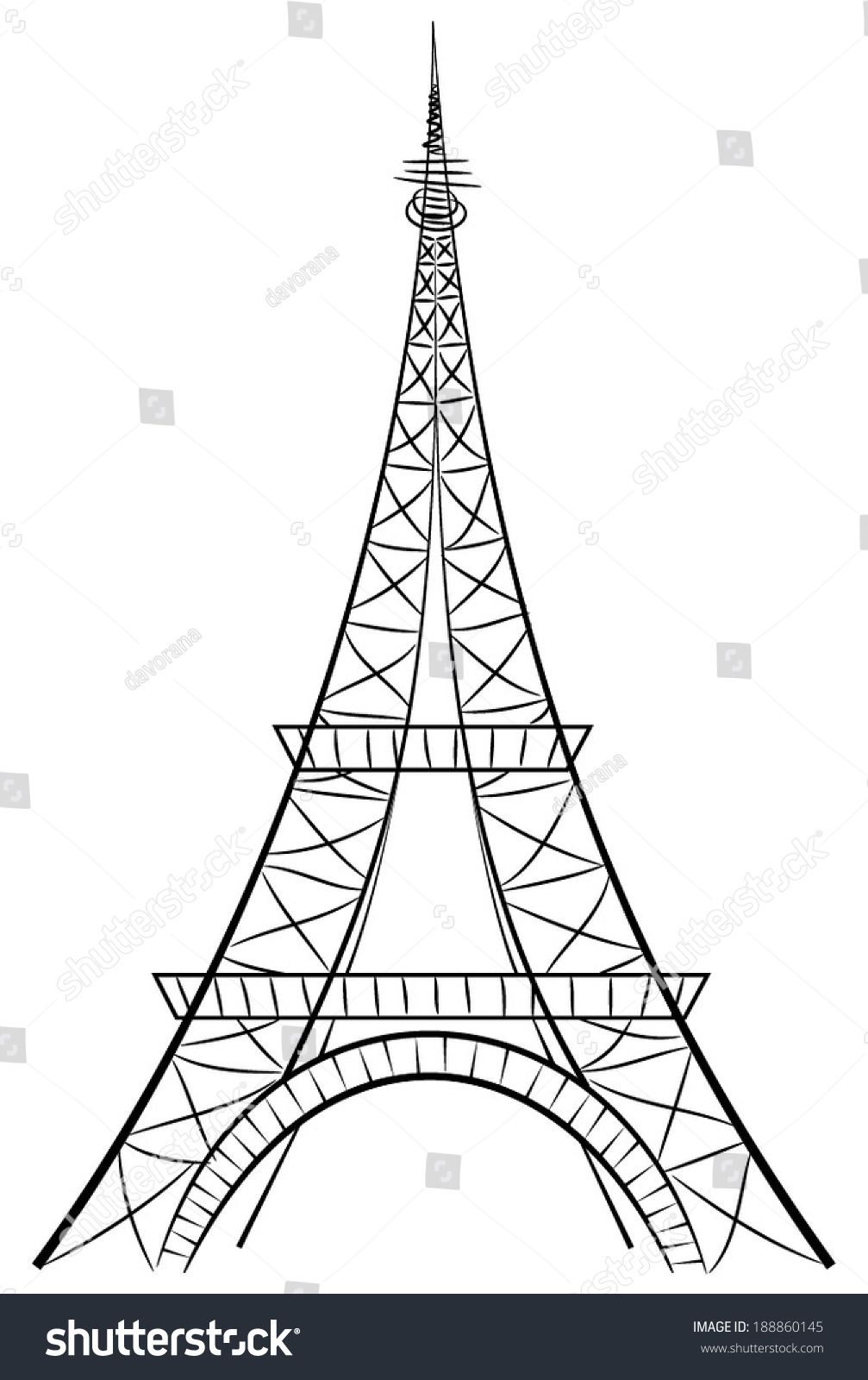 eiffel tower most famous symbol france stock vector 188860145